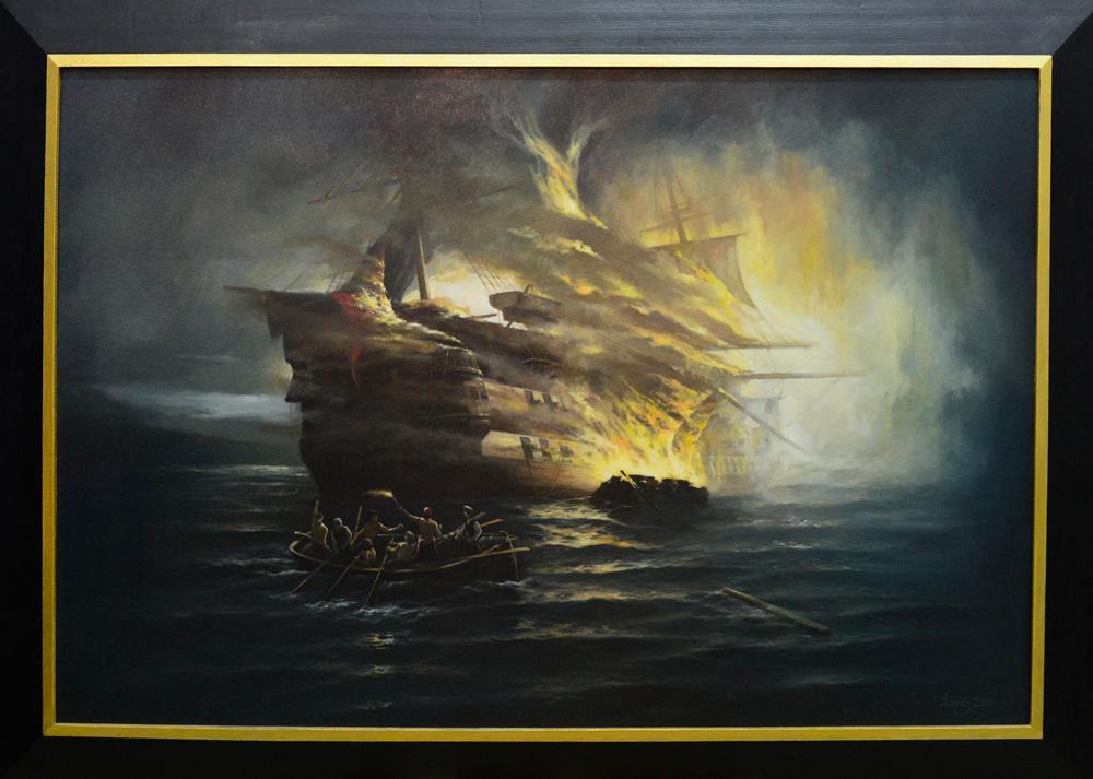 """""""Πυρπόληση Τουρκικού Πλοίου"""" 120χ80cm ελαιογραφία σε μουσαμά 2004"""
